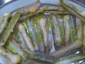 navajas en salsa verde